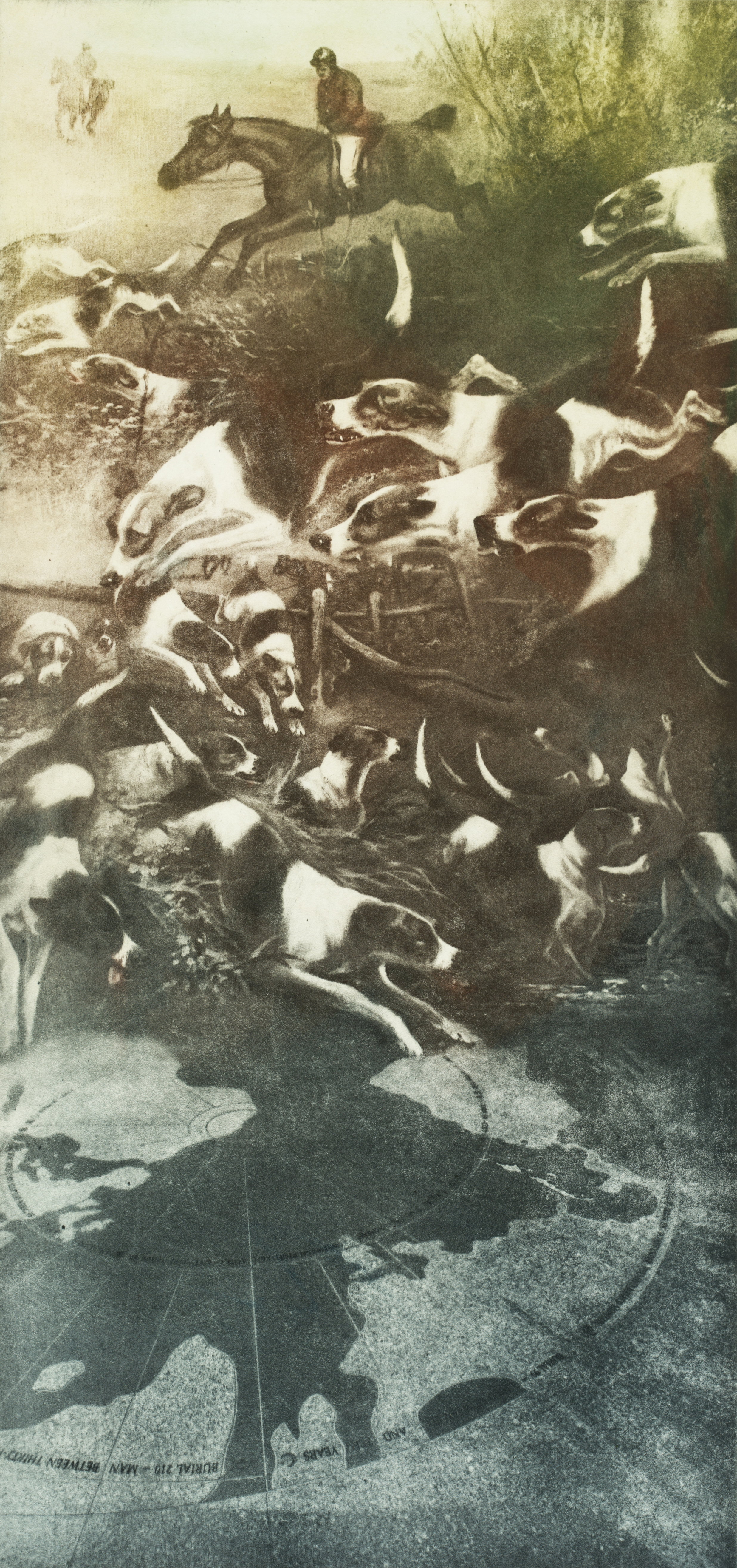 """Release the Hounds #2   Solarplate Etching (16x12"""")"""