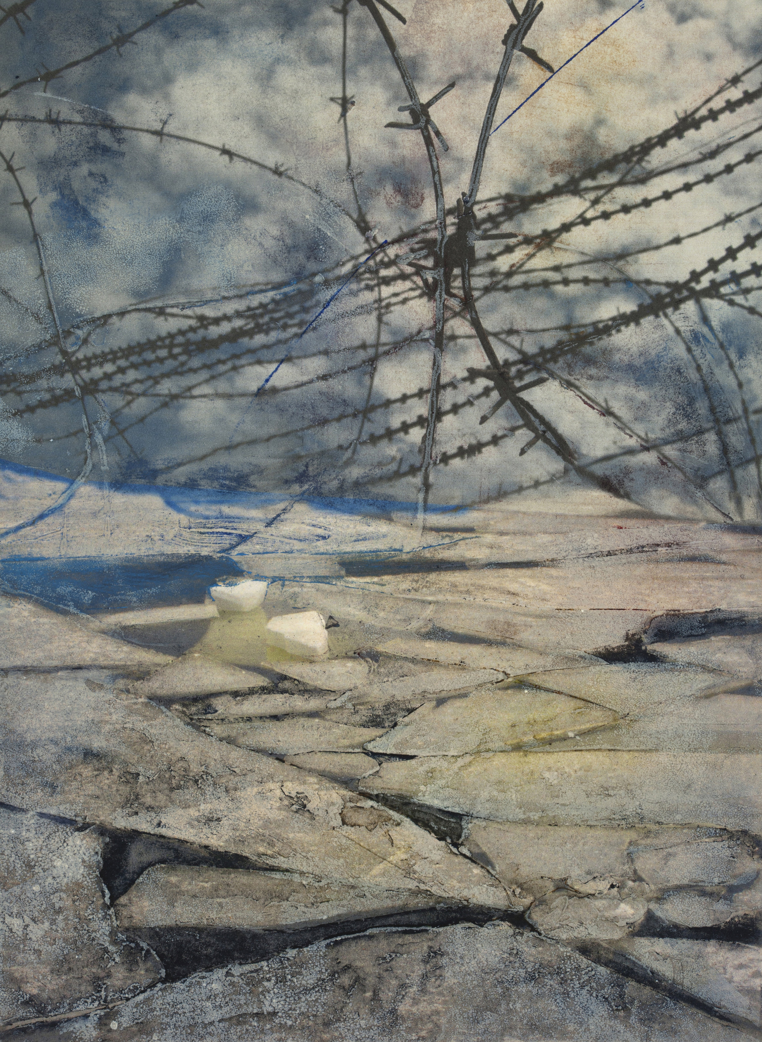"""Wire and Ice #2   Monoprint/Collograph (22x30"""" )"""
