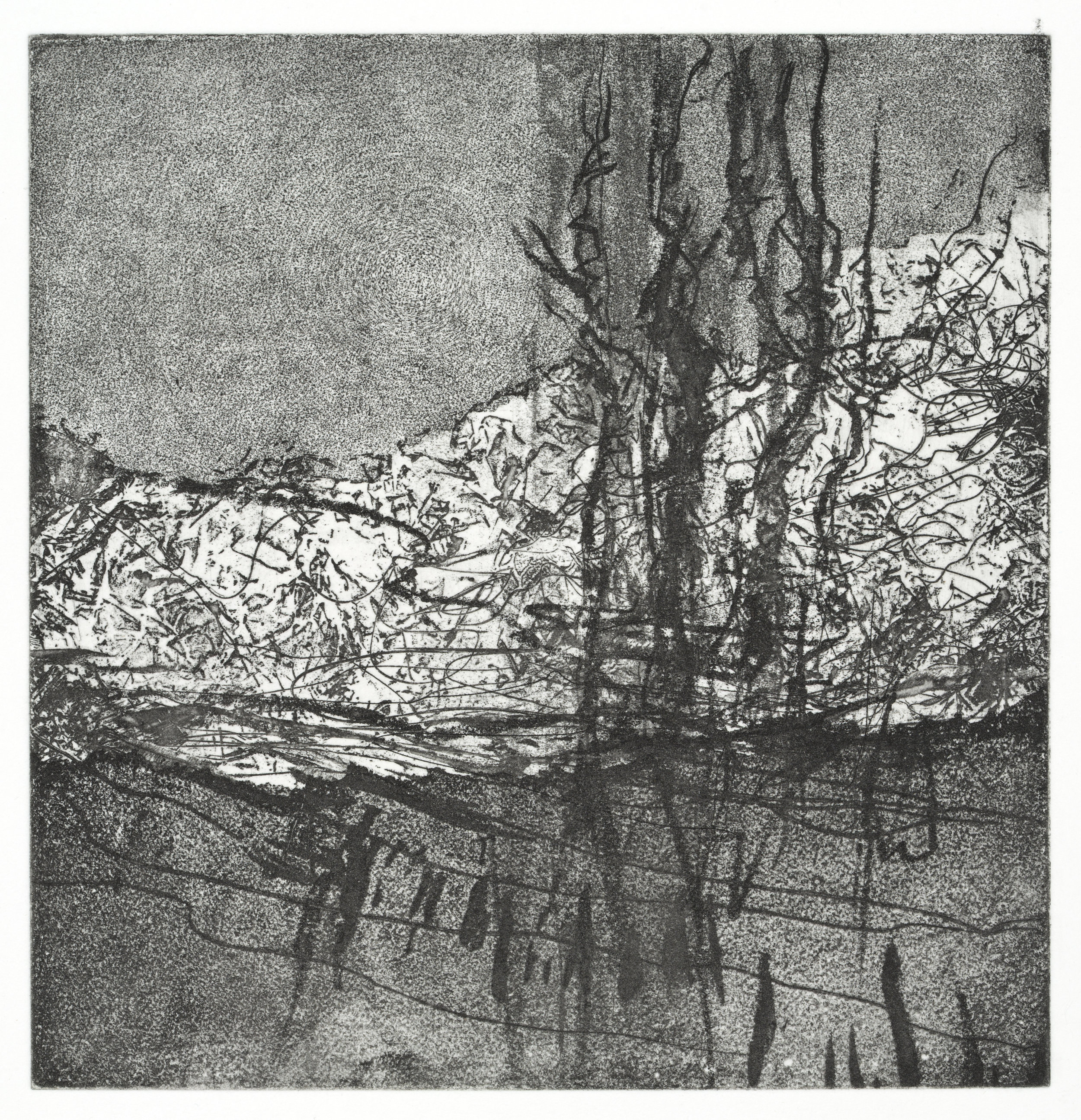 "Fence   #2   Soft Ground Etching (6x6"")"