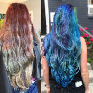 Before and After. Vivid, bright and bold hair color is always fun! Healthy shiny hair is always my main goal.
