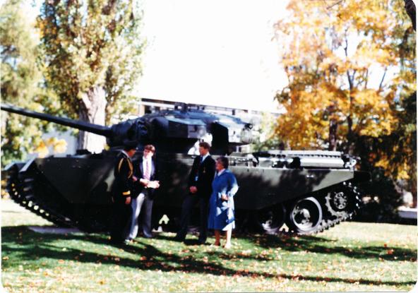 Official presentation of the centurion tank by mrs faith avis, wayne boone and guy killaby