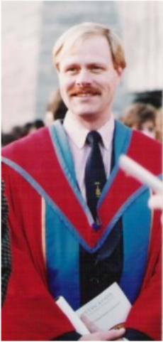 Al Stewart receiving his PhD in 1992