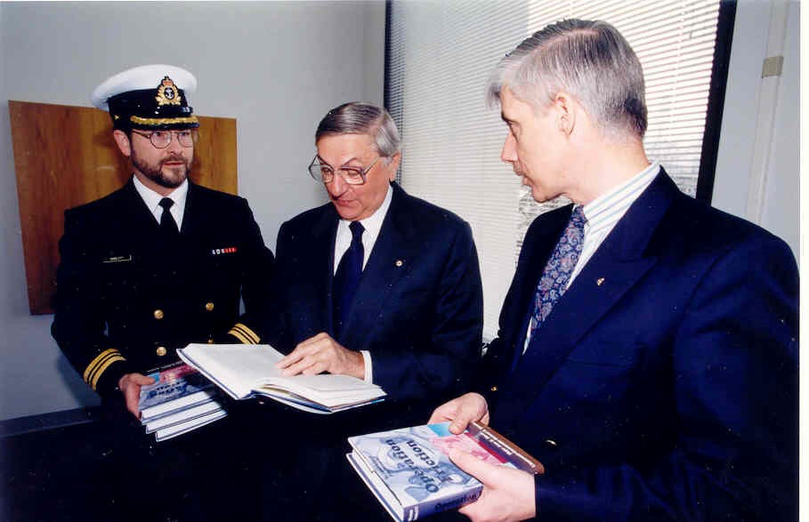 Rich and 10004 jean morin with governor-general romeo leblanc at the book launch in 1997