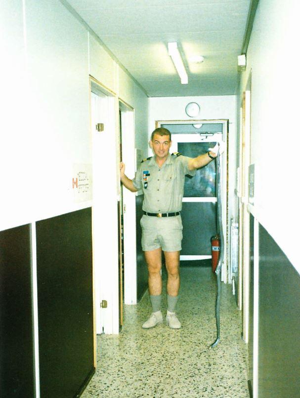 rob davis, the qm, with a creature caught near the barracks
