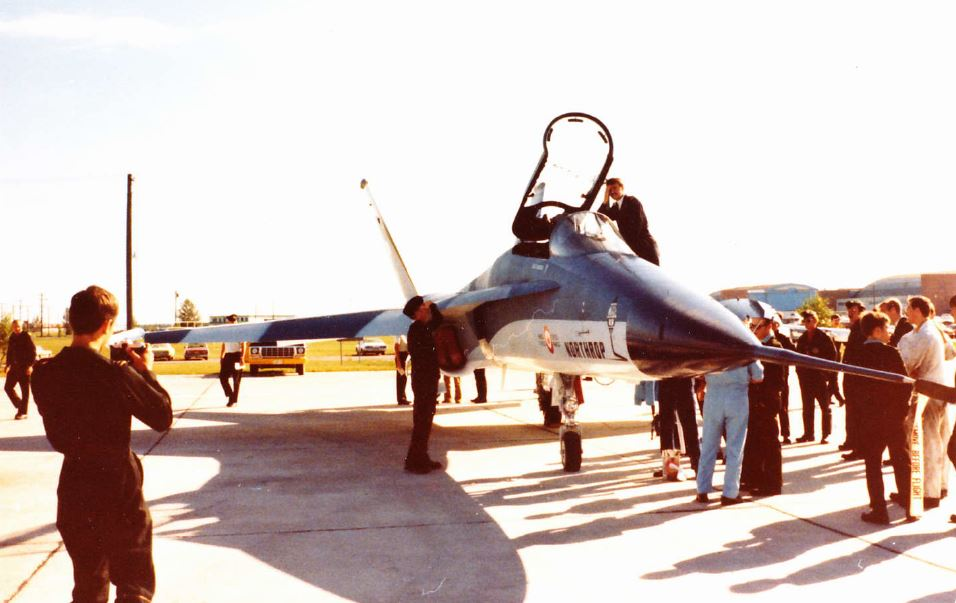 while visiting cfb cold lake, this northrup f-18L was at the aerospace engineering test establishment (aete), well before the cf-18 was chosen as the nfa (new fighter aircraft). however they added cf decals, eg, cf-18l prototype, canadian flag, aircraft number, roundel etc to make it look better to the audience. the govt eventually purchased the mcdonnell-douglas f/a-18 variant.