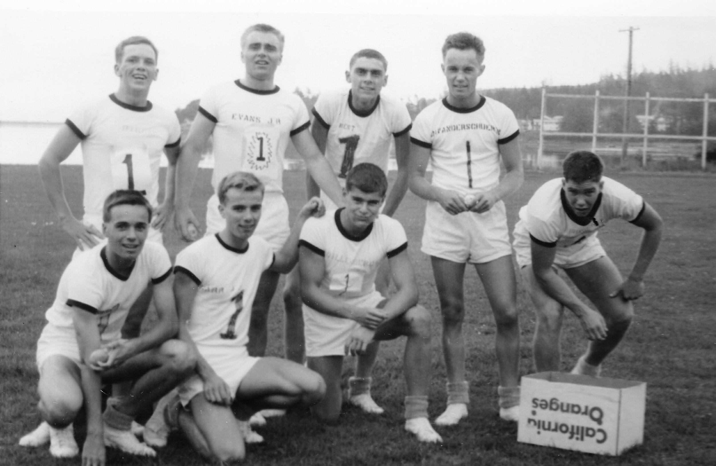 back row: kevin biggar; john evans; reg best; mark de van der schueren; xxx  front row:   xxx; john carr; ted dillenberg