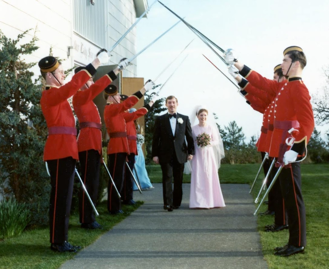 rick and debbie touchette's wedding at belmont part in the pmq patch. sword arch made up of, on the left, bruce simpson, gary bruce, al stephenson and tbc and on the right bill schick, ed vos and two TBCs