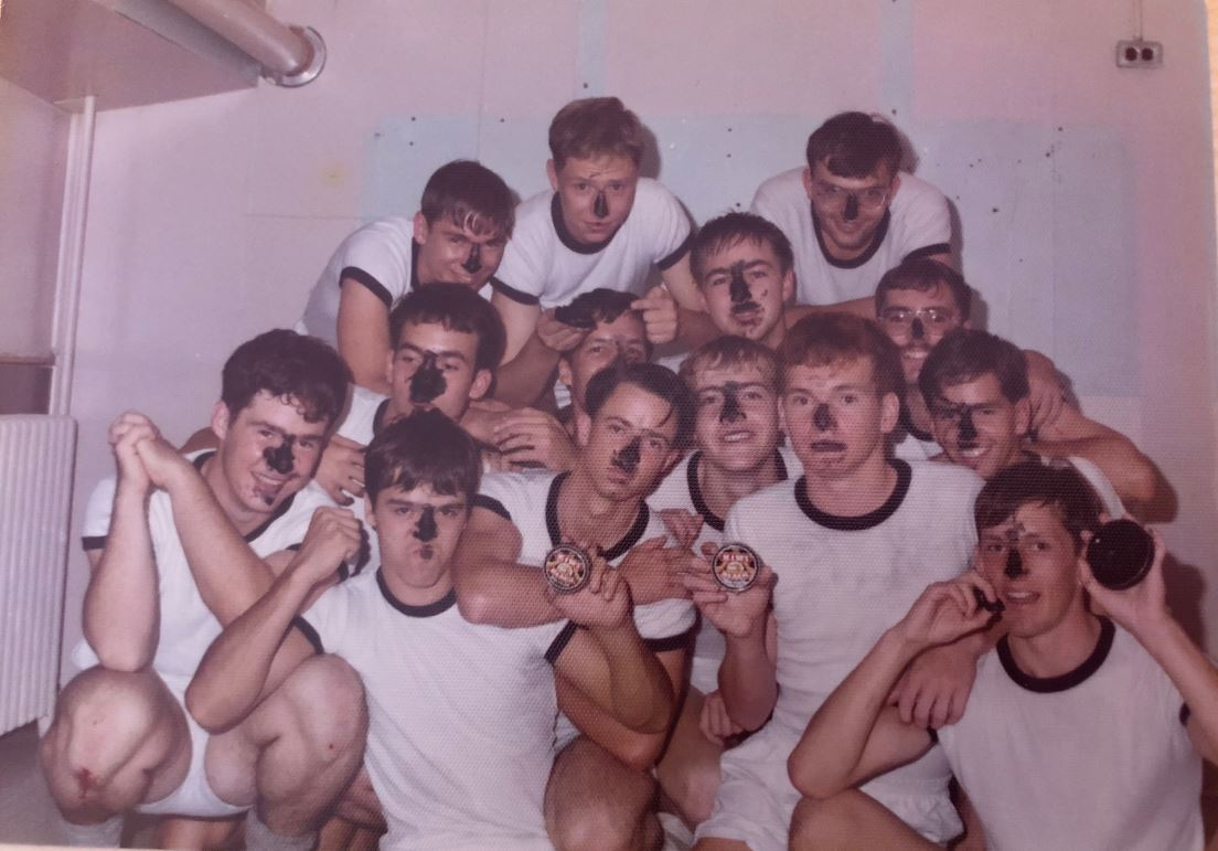 Editor's note: most of the other squadrons felt a better use of the polish was for their shoes, but of course, the frigate always had to do things differently!   back row : john moore; john roeterink; ray stouffer  middle row : dave marshall; bill panter; jim wishloff; marc fraser  front row : jim gordon; dave langille; dave instance; pete barber; rob maccormack; dan eustace; sid allison