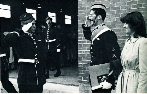 Pierre linteau receiving his first salute post-graduation