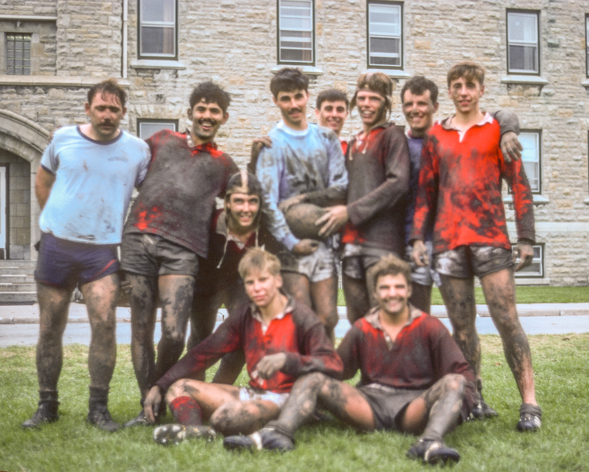 """lee with """"the boys"""" after a rather muddy rugby match at rmc - includes kevin biggar and chris willmes"""