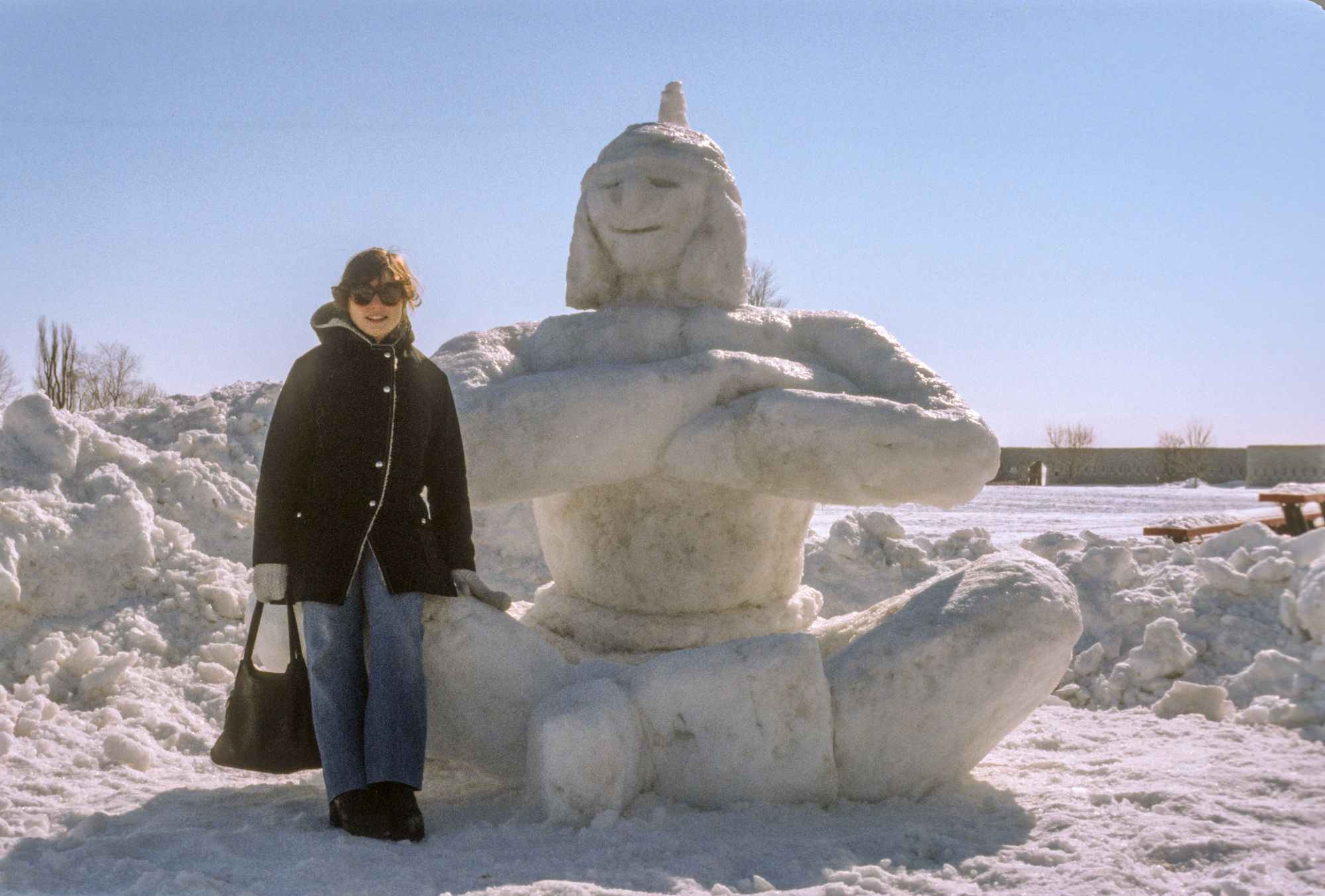 patti Lusk at rmc with 8 sqn snow sculpture. she later moved with lee to moose jaw, only to lose him to the tragic crash, sadly on her birthday
