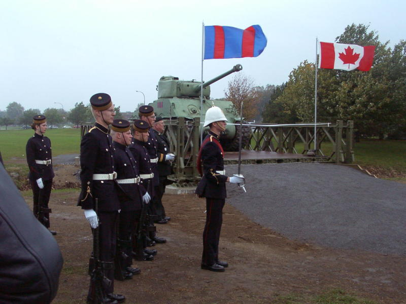 official opening of the bailey bridge/sherman tank on 12 oct 2004 during the ex-cadet weekend