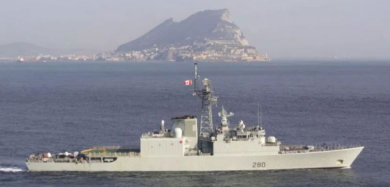 HMCS Iroquois passing the rock of GIBRALTAR on 31 october 2001 on the way to the arabian sea in support of operation apollo.  PHOtograph by mcpl brian walsh - j5pa/dgpa
