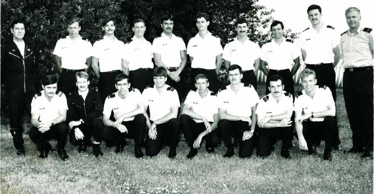 tom at survival school in edmonton - front row, 4th from the right