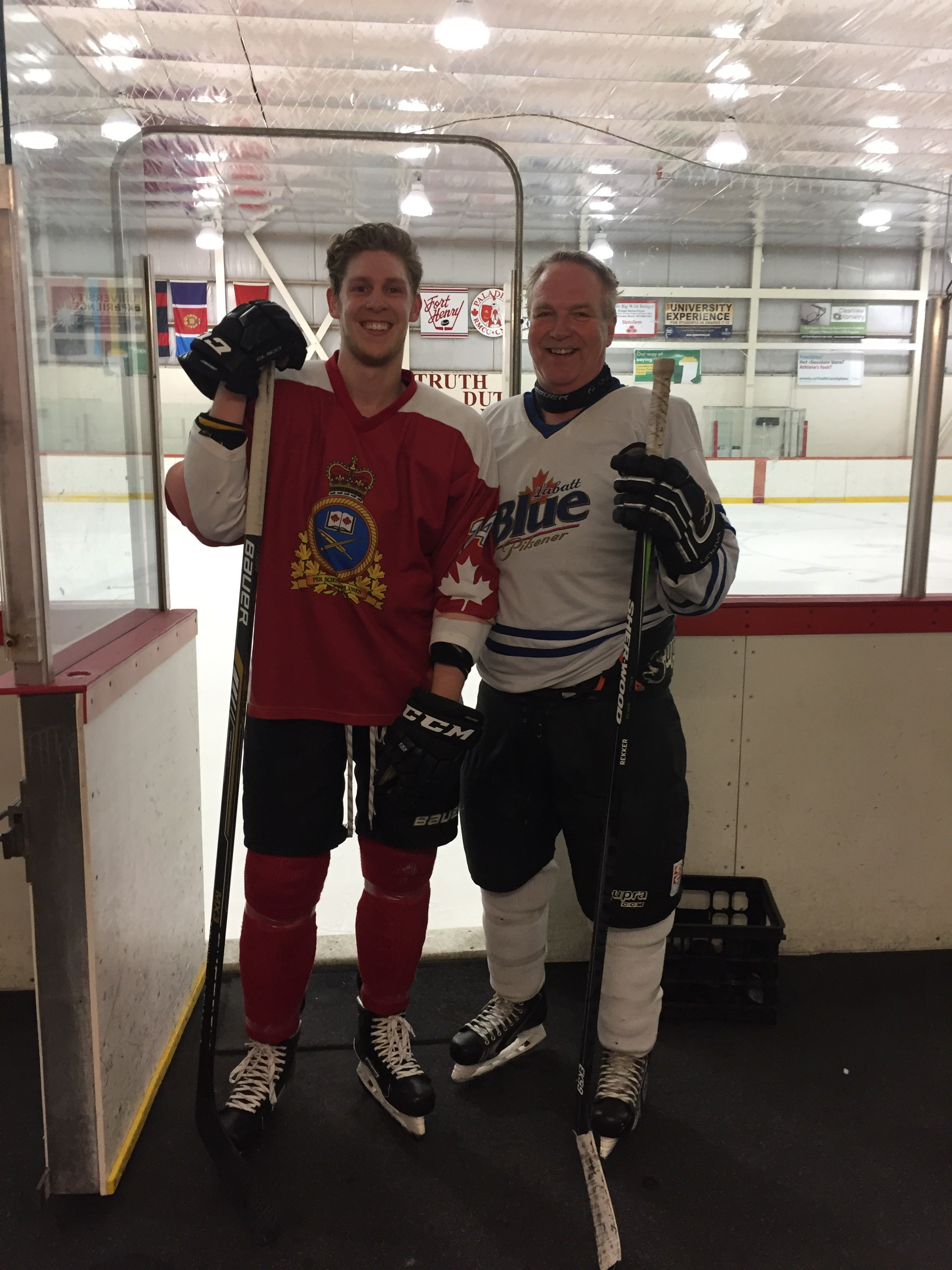 back at the constantine arena playing hockey at noon with my stepson riley - photo was for hockey jersey day in memory of the victims of the humbolt broncos bus crash
