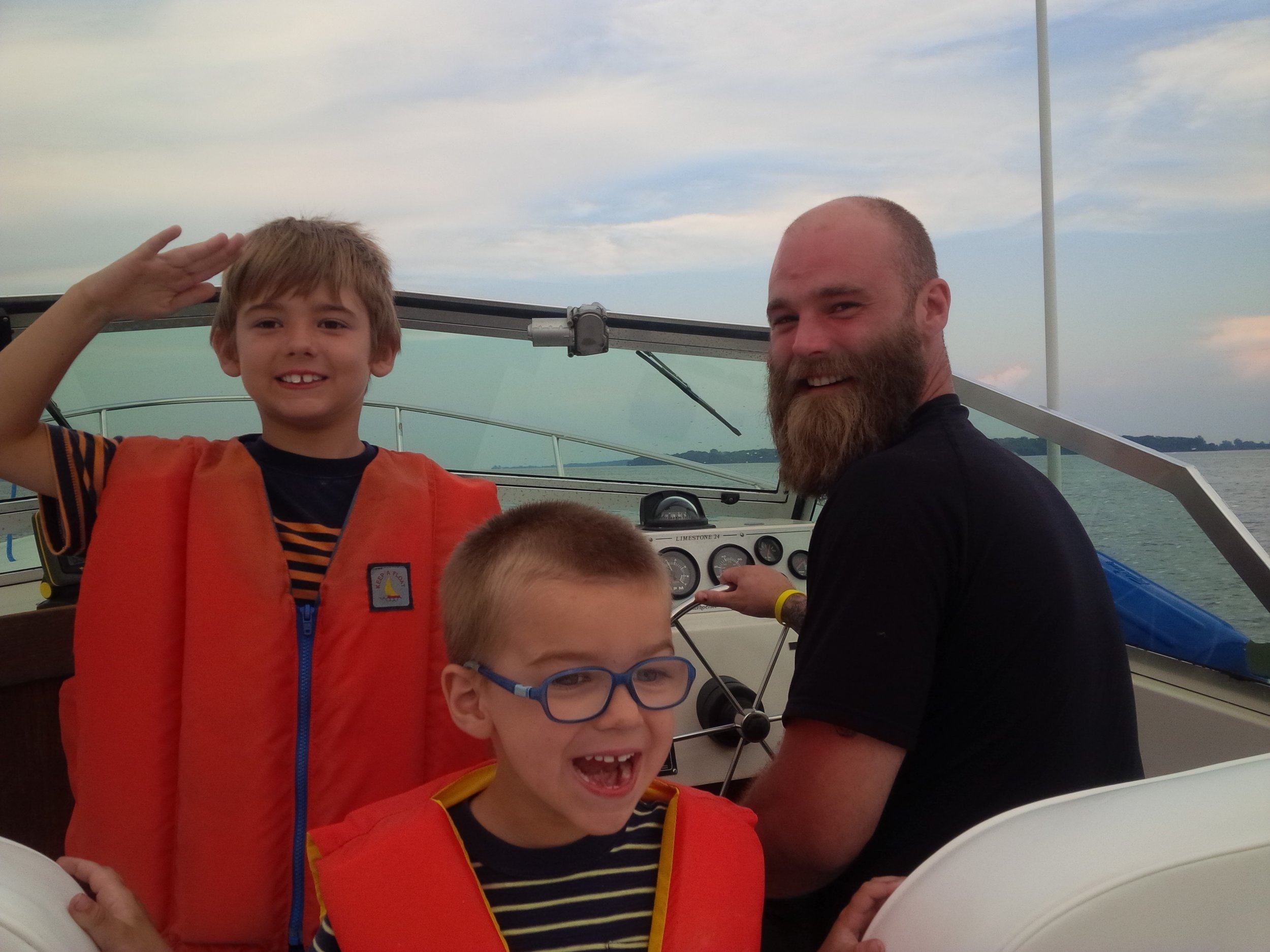 son matt and grandsons cole (saluting) and jeremy