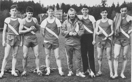 rrmc 1976 cross-country team - doug second from the right along with class of 79 mates marc de van der schueren (on the left), ted dillenberg (second from left) and reg best (to doug's left)