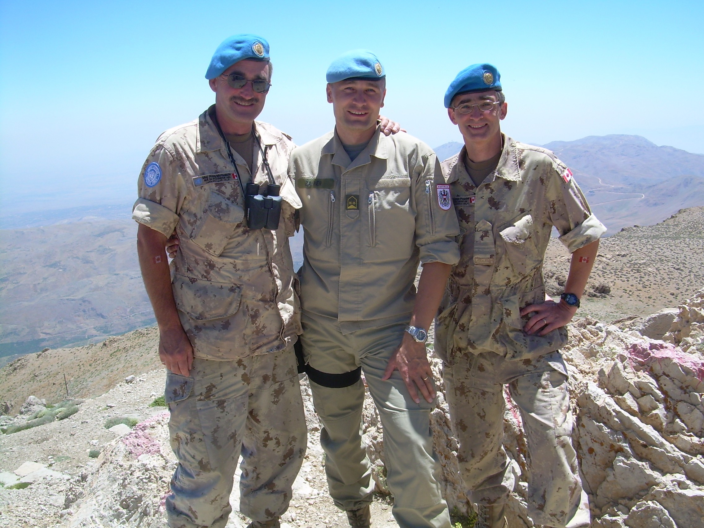 doug on mount hermon overlooking syria along with fellow canadian maj andY mcquilkin and austrian lcol rudolf zauner.  he was serving with the un DISENGAGEMENT observer force (UNDOF) hq in camp faouar as part of op gladius in 2006/2007