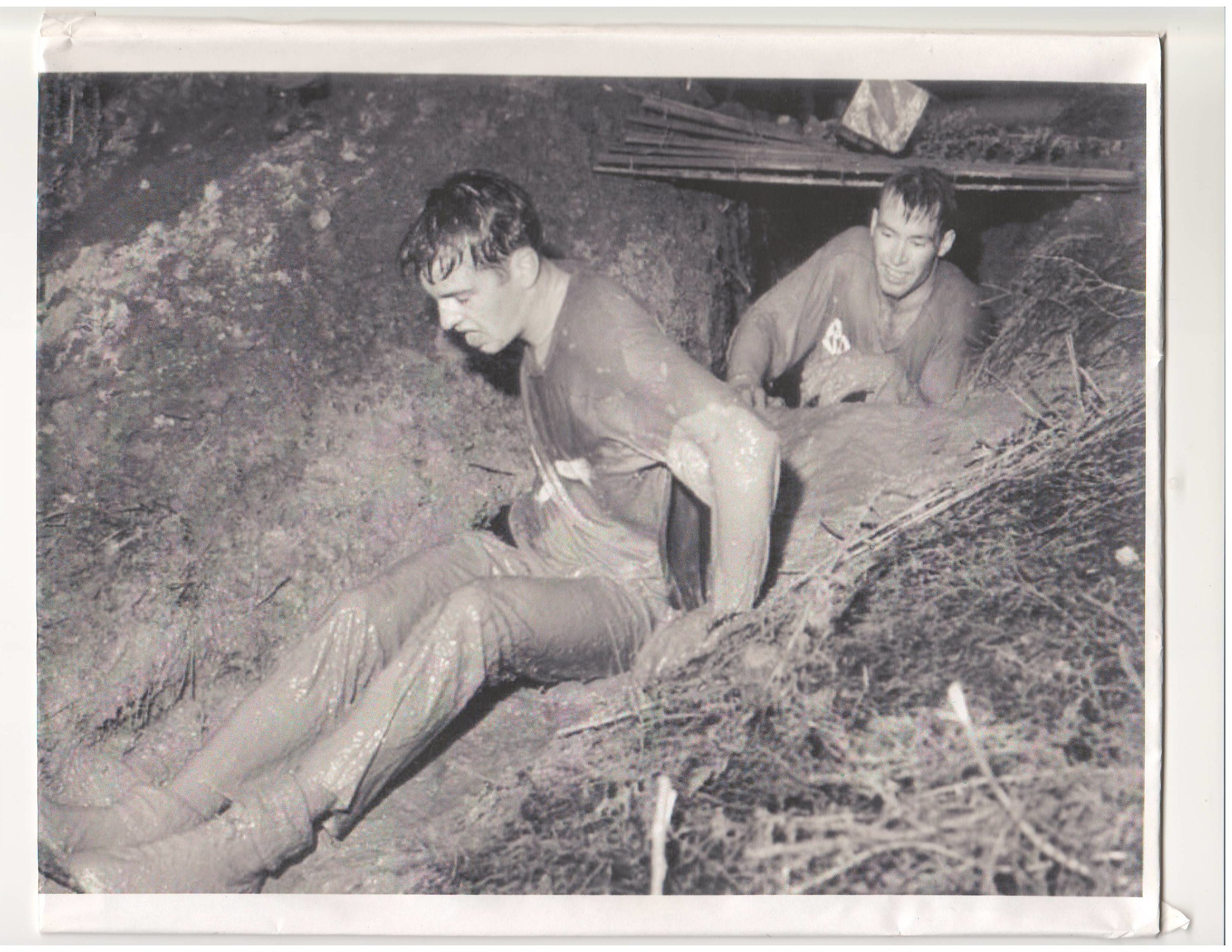 RJ and craig wood during the recruit obstacle race at rmc in 1975