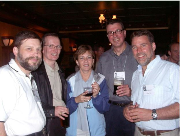RJ at rmc at the 25th reunion in 2004, along with Bryn Weadon, roger and sharon touesnard and pete avis