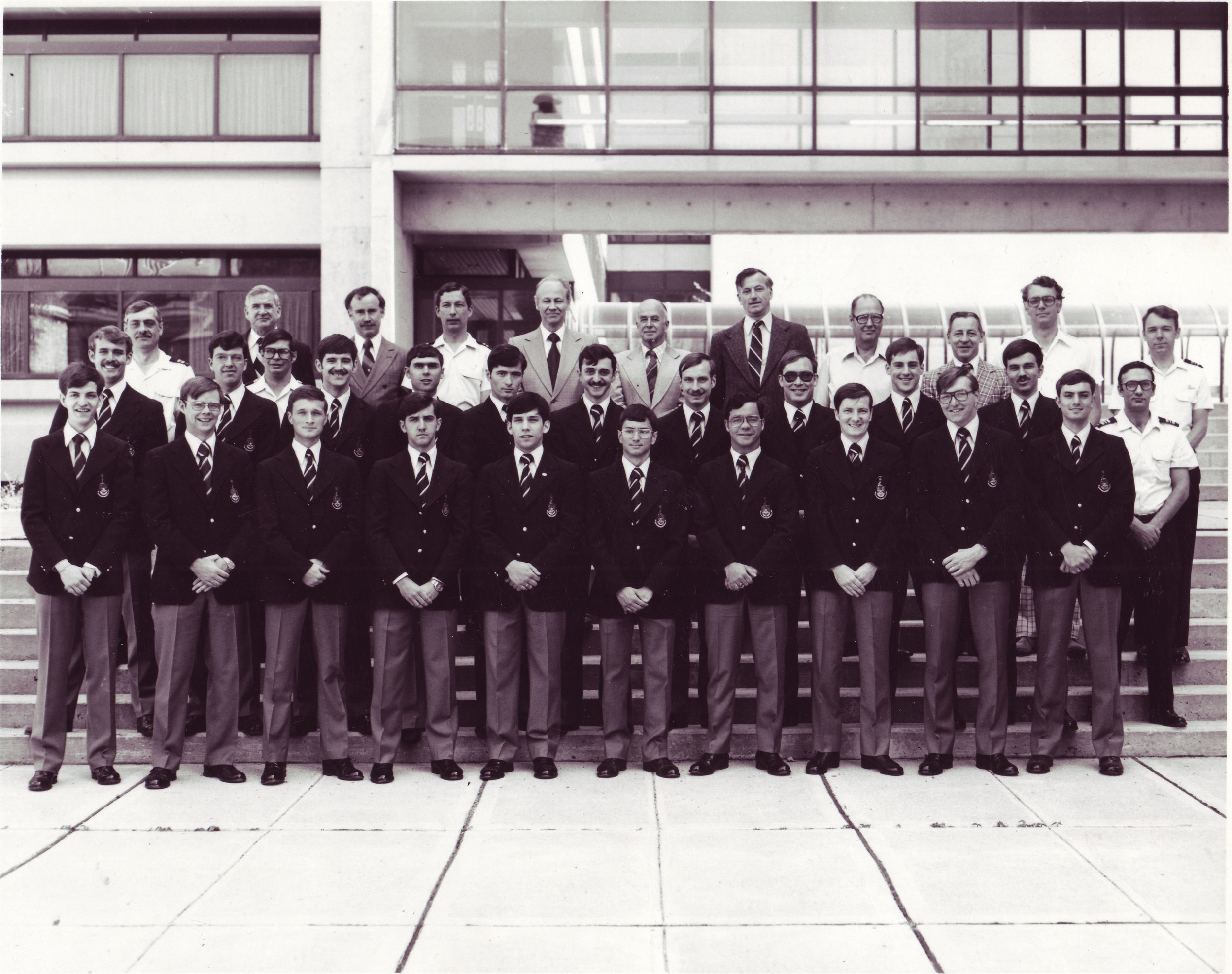 rj was extremely proud to be an engineer. here he is, in the middle row second from the left, posing along with his fellow mech eng students and professors at rmc in 1979. later he would earn his masters degree in mechanical engineering from rmc as well.