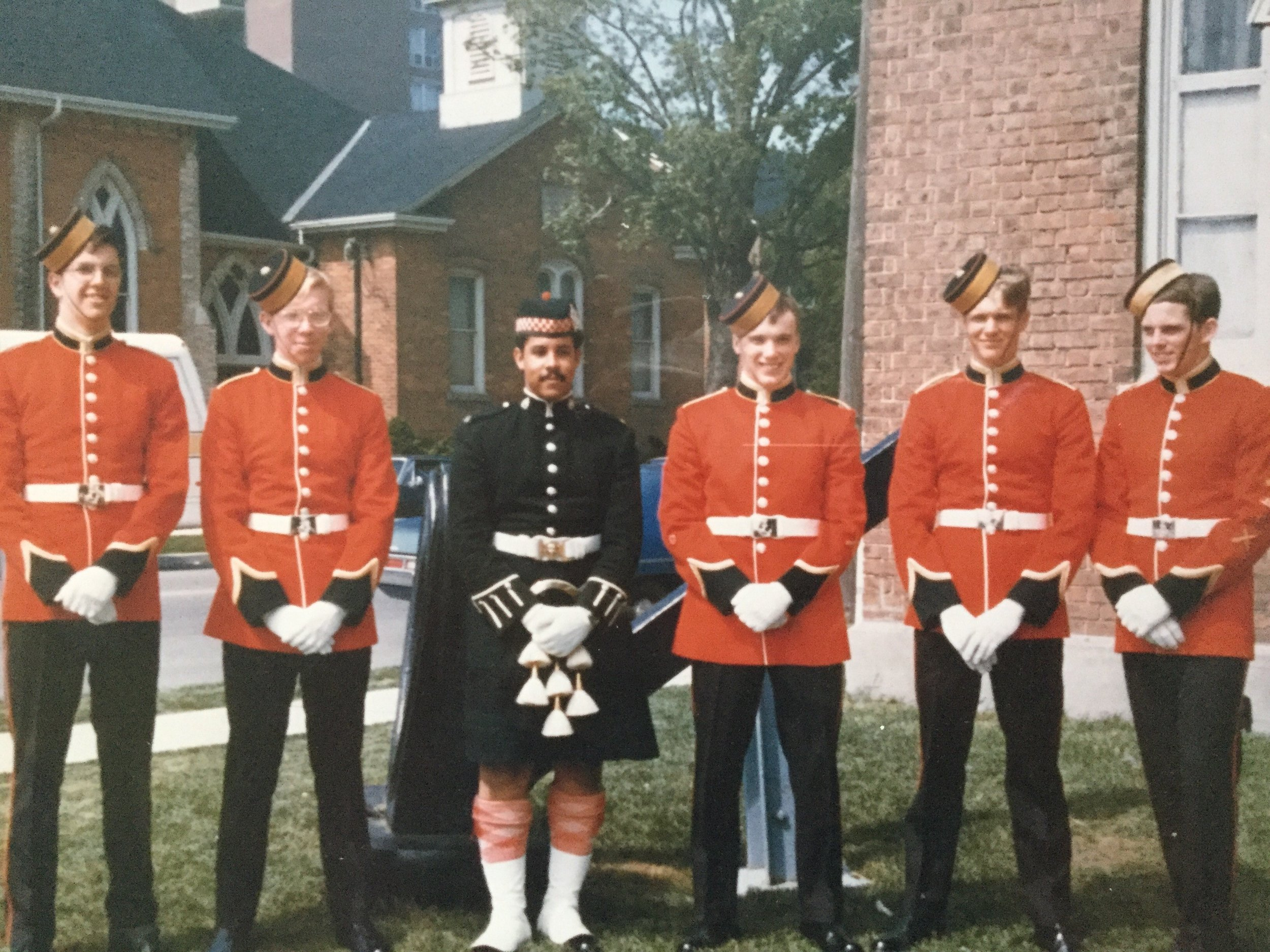 on the front lawn of rcscc iron duke in burlington, where they had all been sea cadets, this is Richard, along with Chris Willmes (Class of 79) , sidney sutherland (rhli - royal hamilton light infantry), steve bate (CMR), ian yeates (Class of 79) and james doherty (Class of 78)