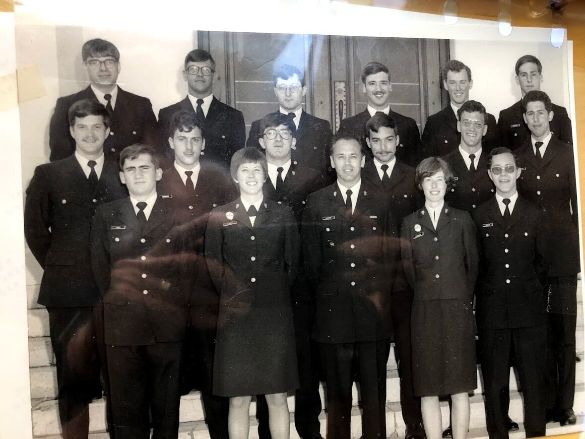 back row: from left - jack dawson (rotp civvy u dal), steve woodland (80 cmr 80), keith johnston (79 rrmc), steve kowaluk (80 rrmc/rmc (joined in 75), john turnbull (79 rrmc/cmr), ed richmond (79 rmc). middle row: gary banks (79 rmc), brian mondoux (78 rrmc), randy rogers (79 rrmc/rmc), michel ouellette (80 CMR ) , luc gadbois (80 cmr), richard groves (79 rrmc/rmc). front: dave pickett (79 rrmc/rmc), jean Iisley (reserve), ds, capt val spencer (reserve), , don pottier (80 cmr)  Note: richard indicates that val spencer did a masters of military history at rmc starting in the fall of 1979, so may actually have been the first full-time female student at rmc.