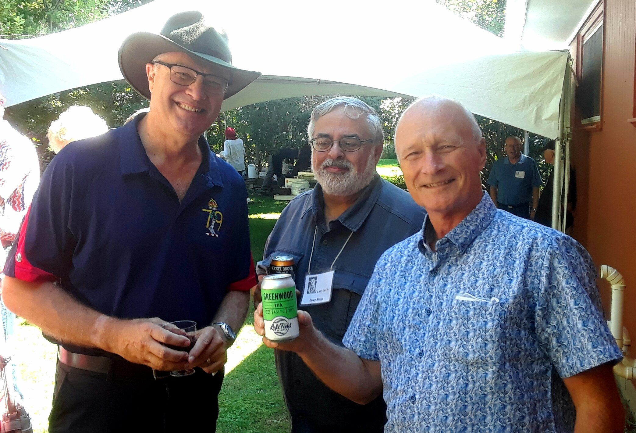ian yeates, doug mann, and richard greenwood and some free advertisement for the greenwood india pale ale!