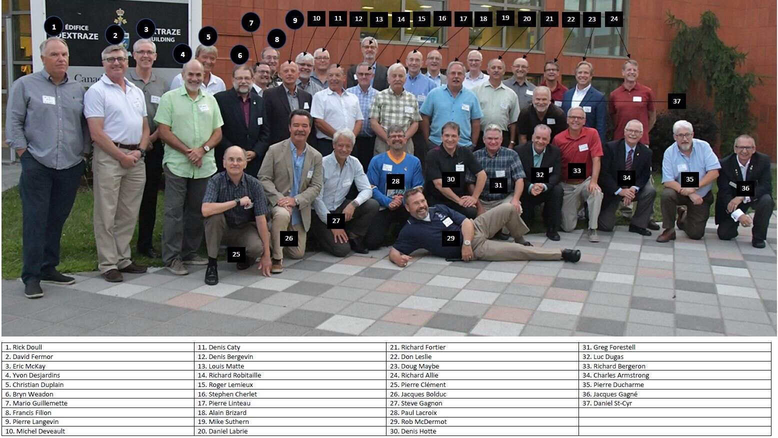 CMR 40th Group outside Dextraze with Names.JPG