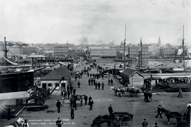 Quens Wharf Auckland, by the Burton Brothers 1899.