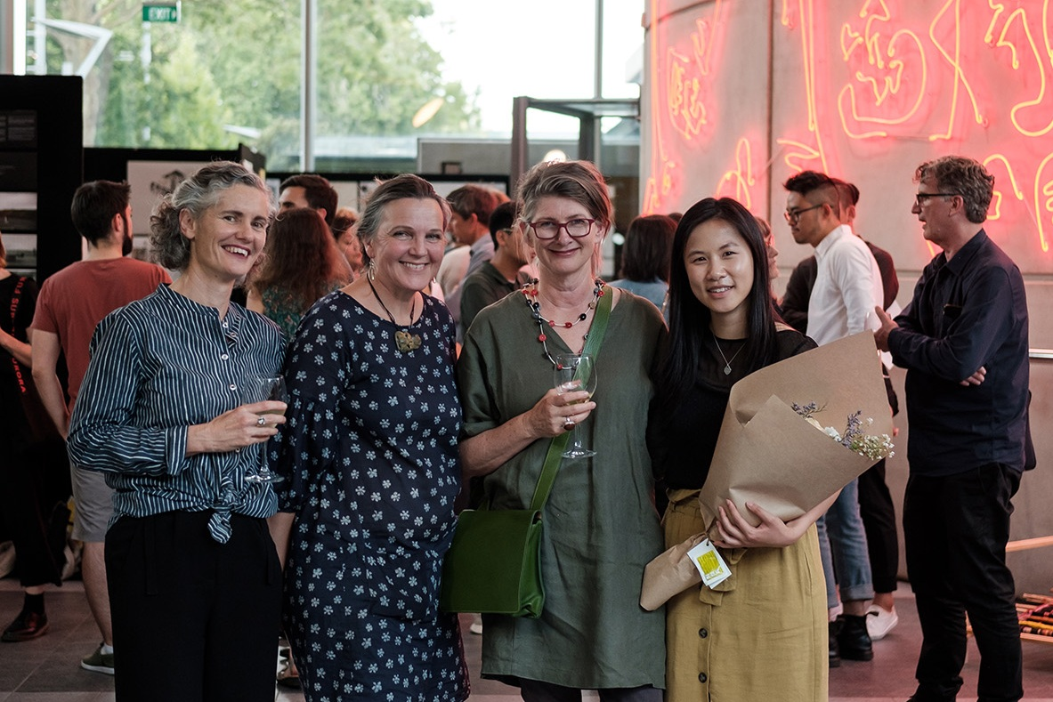Judging panel (left to right): Dr Kathy Waghorn, Dr Fleur Palmer, Jeanette Budgett, and Kim Huynh