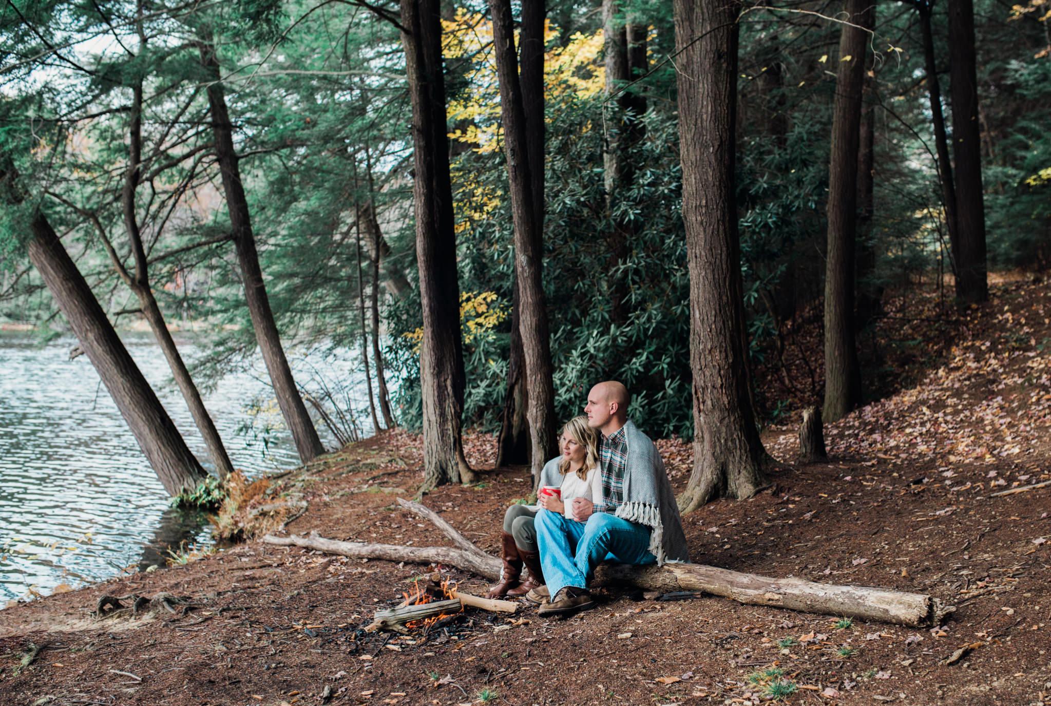 State College Harrisburg PA wedding photographer engagement woods campfire (33).jpg