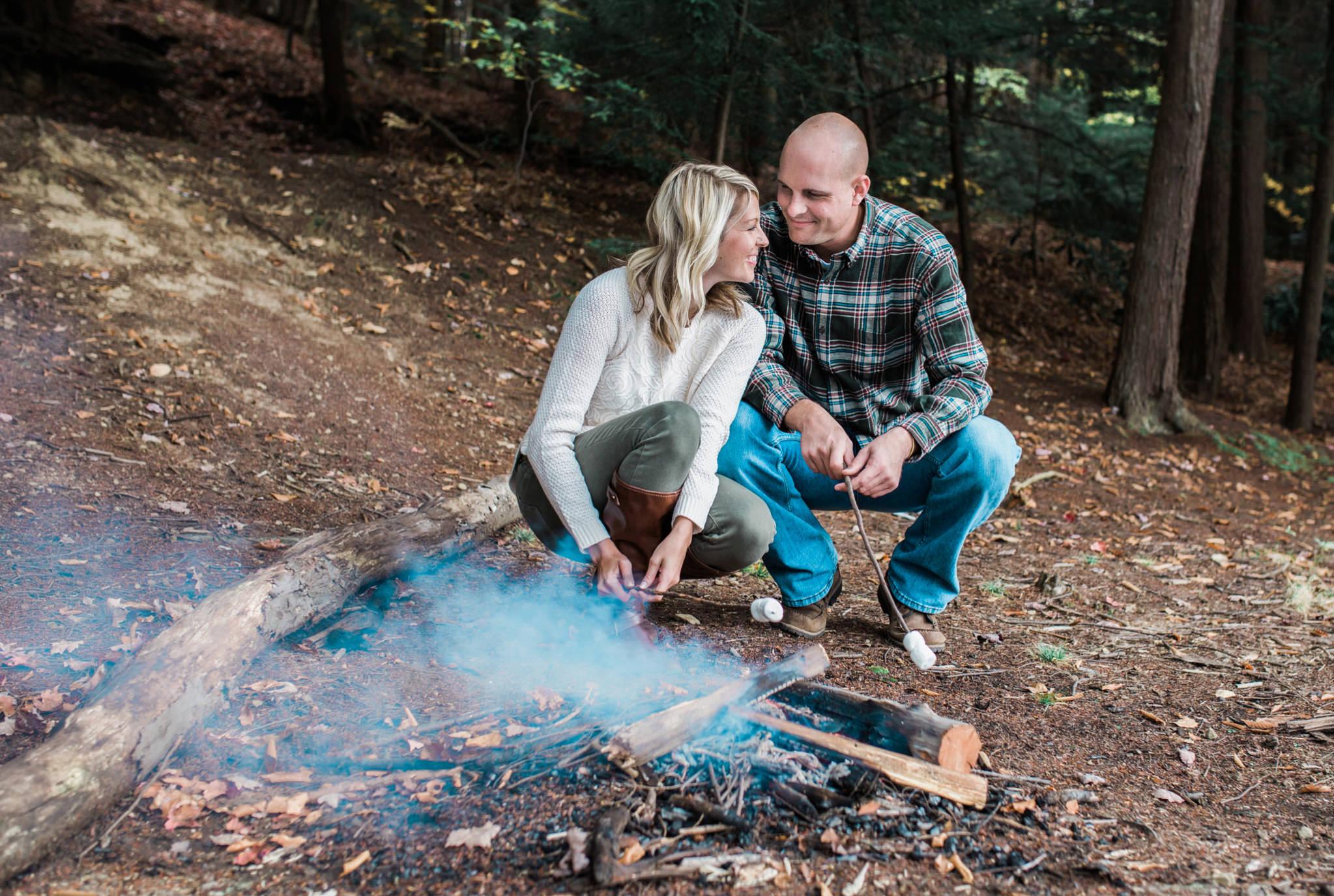 State College Harrisburg PA wedding photographer engagement woods campfire (35).jpg