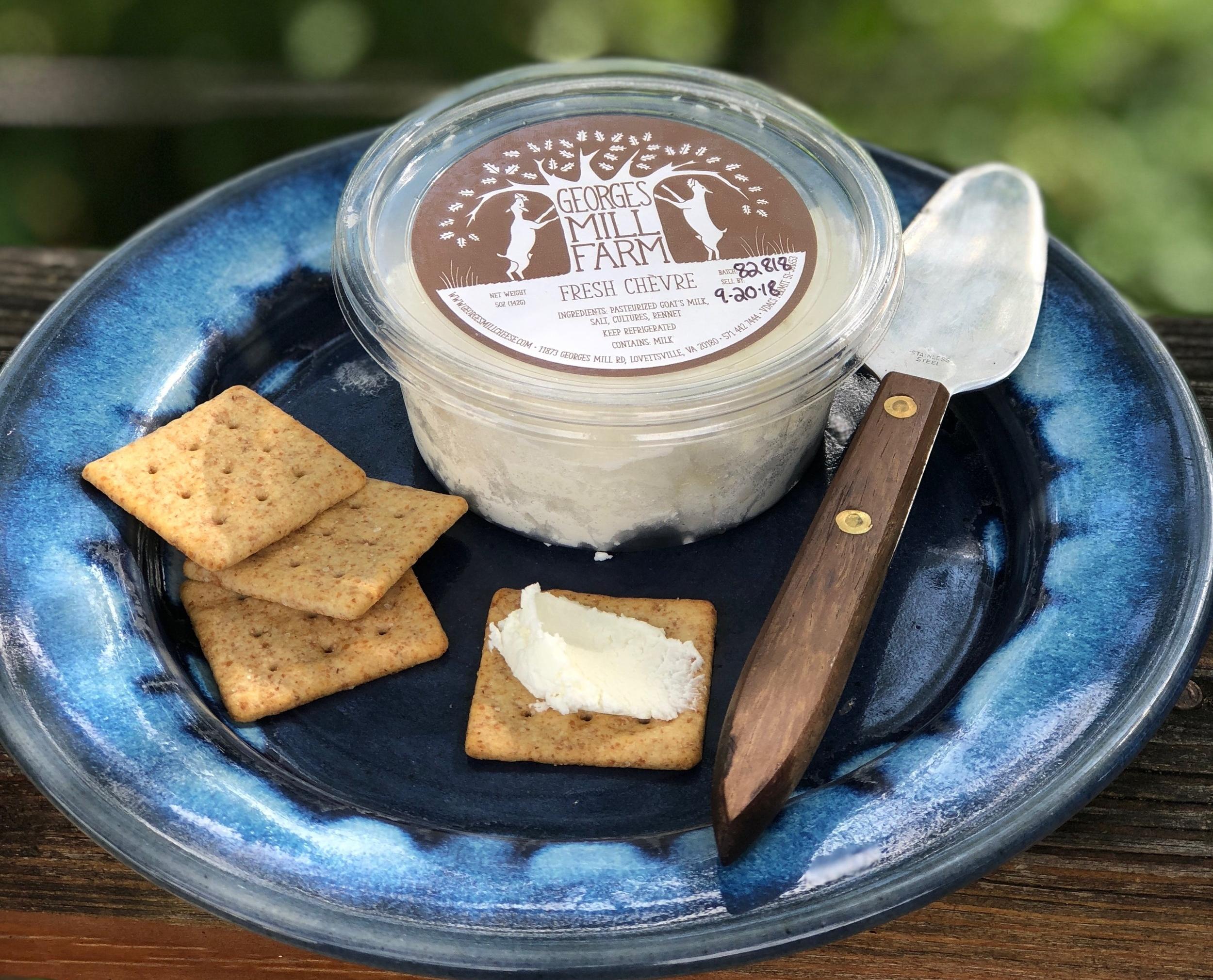 Fresh Chèvre , a creamy, tangy fresh cheese. Plain, honey, herb & garlic and rotating seasonal flavors   Available fresh March-Dec., frozen Jan.-Feb.