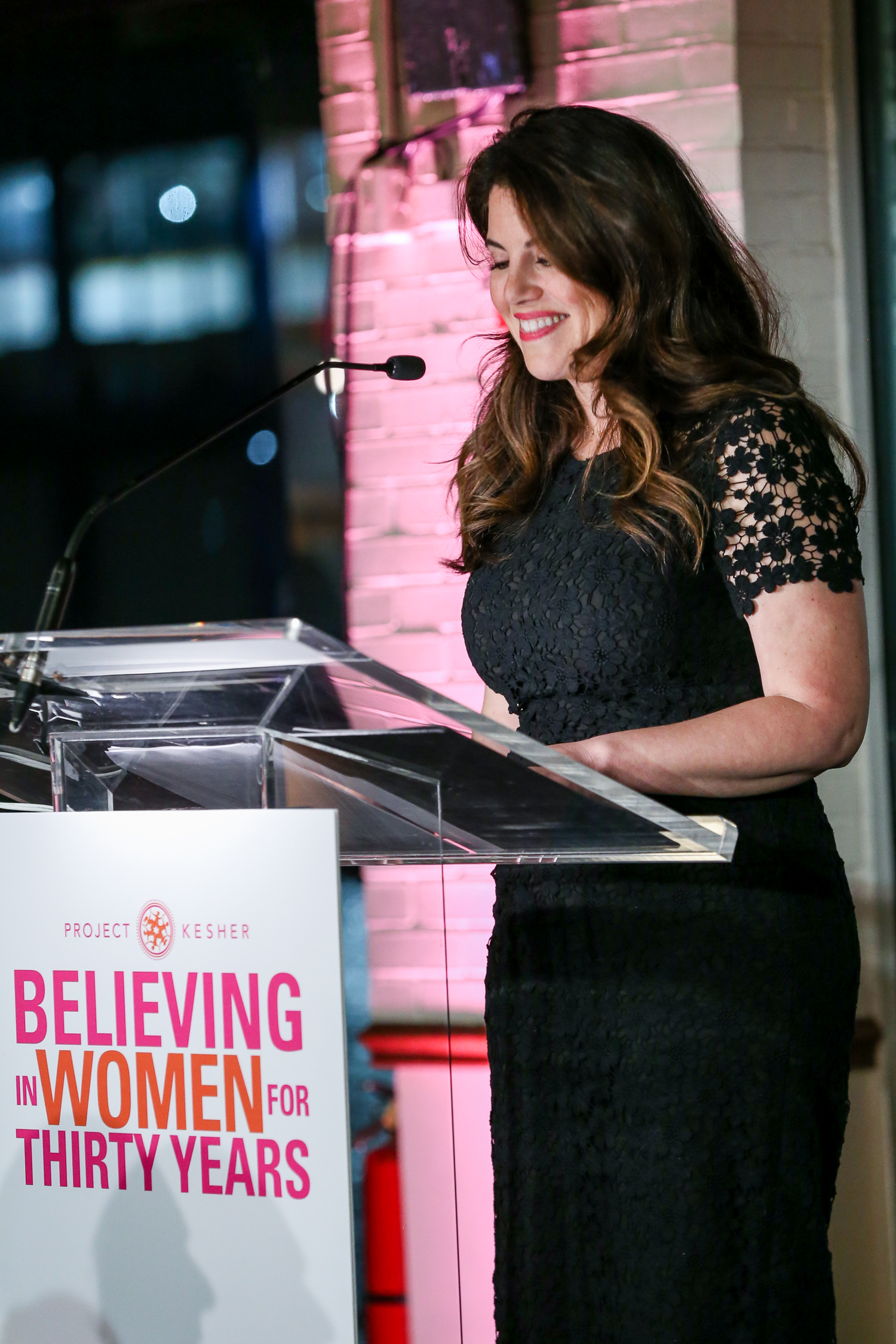 PK's inaugural Kol Isha, (Woman's Voice) Award recipient Monica Lewinsky, giving the keynote address at the 30th Anniversary Benefit.