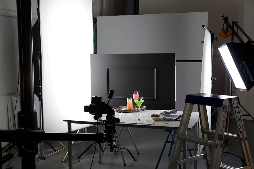 Photography set created in studio for cocktail shoot.