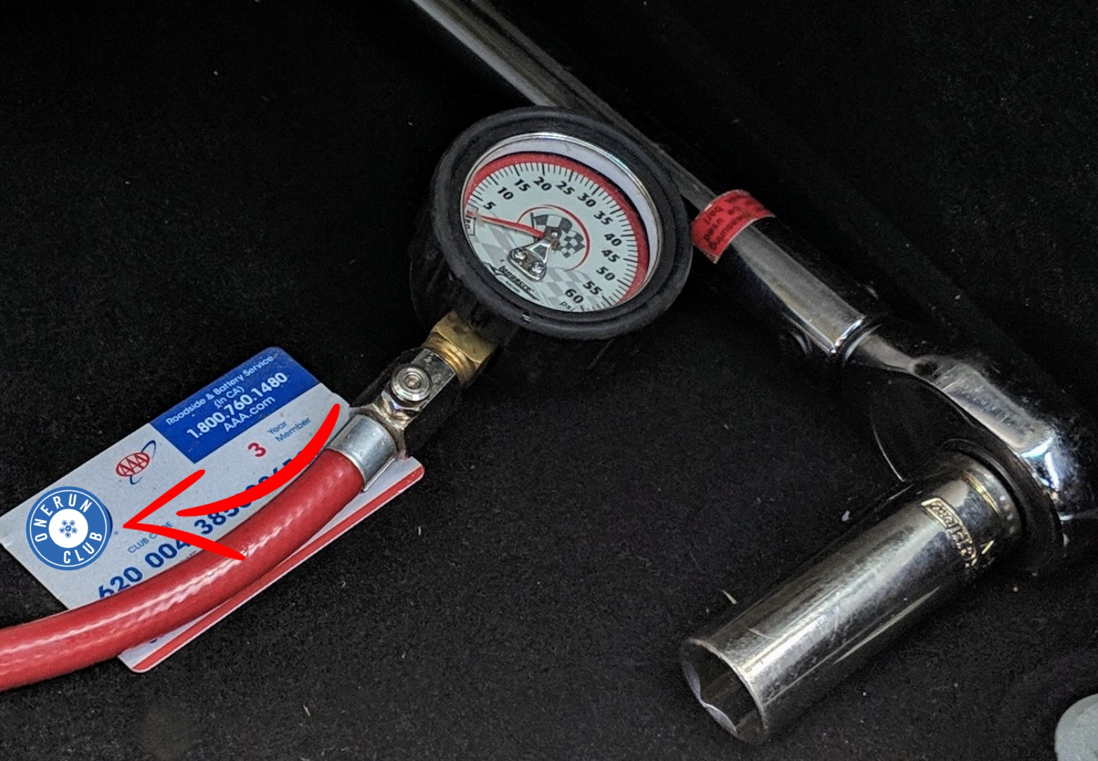 Bare Minimum: Torque Wrench, Tire Pressure Gauge & AAA Card  Level II: Spare fluids, hand tools, chair and sunscreen.