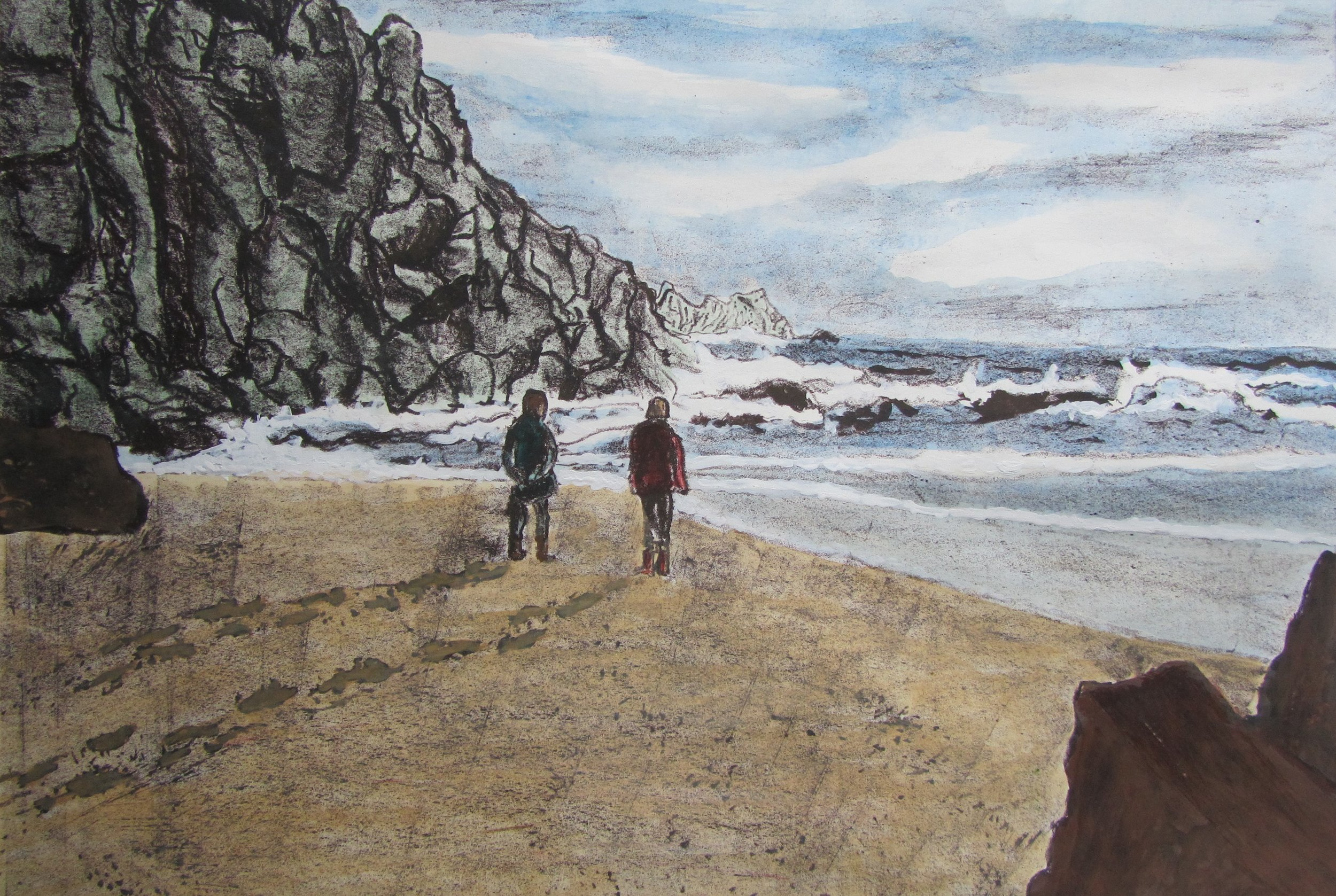 Out to Sea - metal plate lithograph finished in watercolour and gouache paint