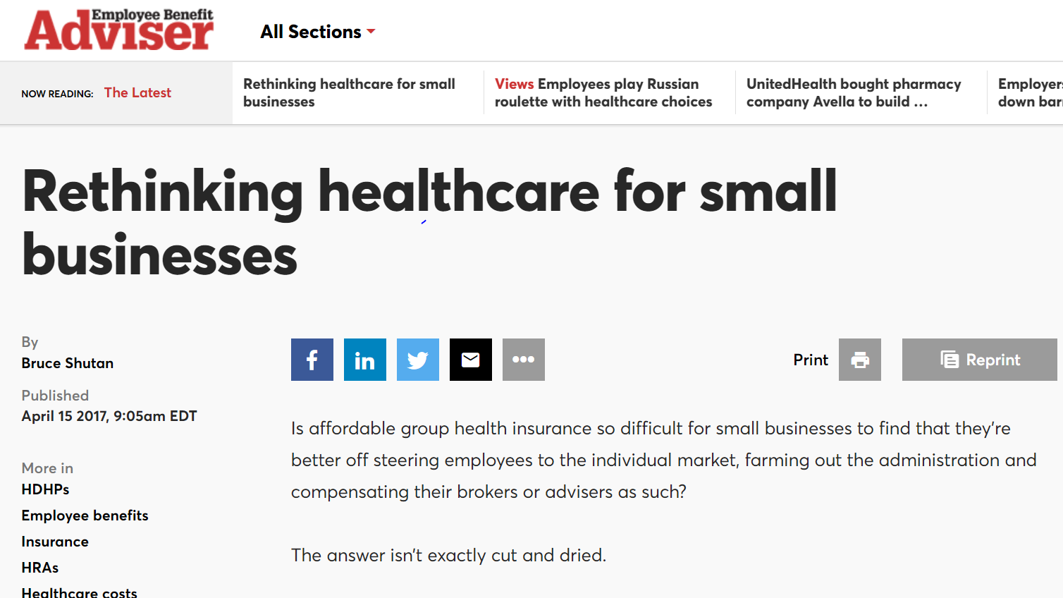 Rethinking Healthcare for Small Businesses