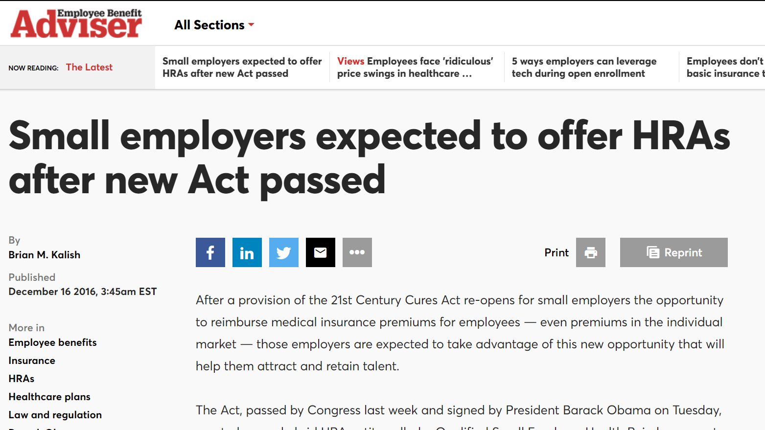Small employers expected to offer HRAs after new Act passed