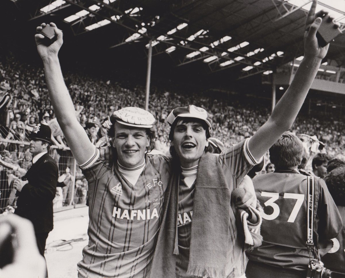 Gray and Sharp celebrate Everton's 2-0 1984 FA Cup win over Watford at Wembley.