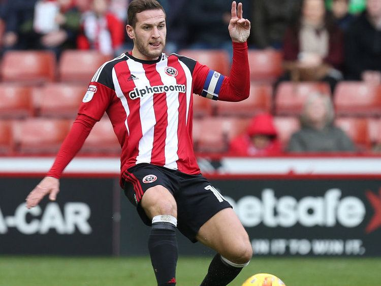 Sharp wearing the captain's armband for Sheffield United
