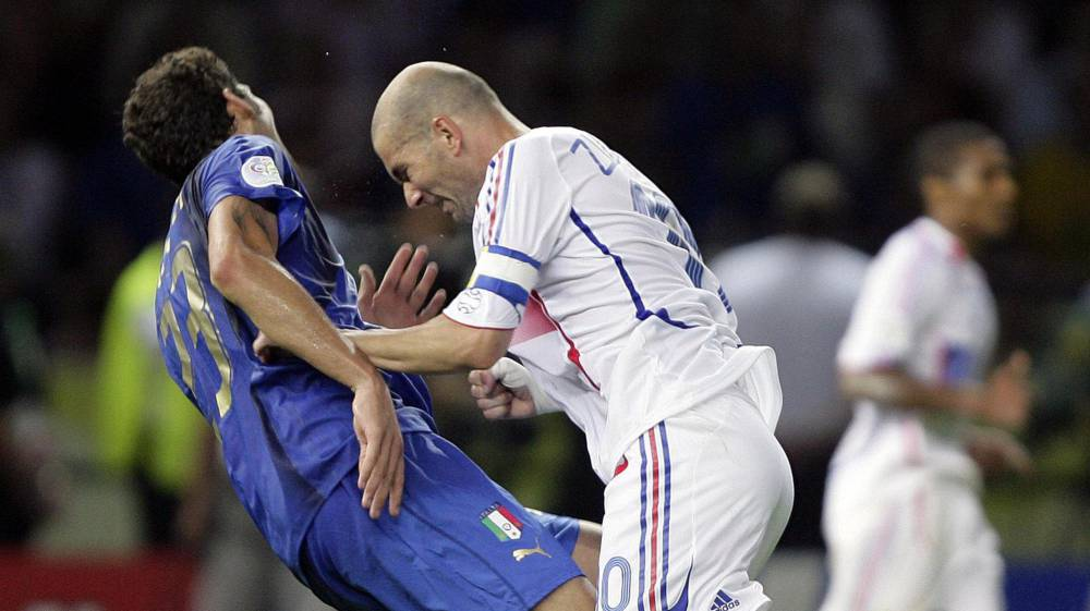 Zidane headbutts Marco Materazzi in the 2006 World Cup final