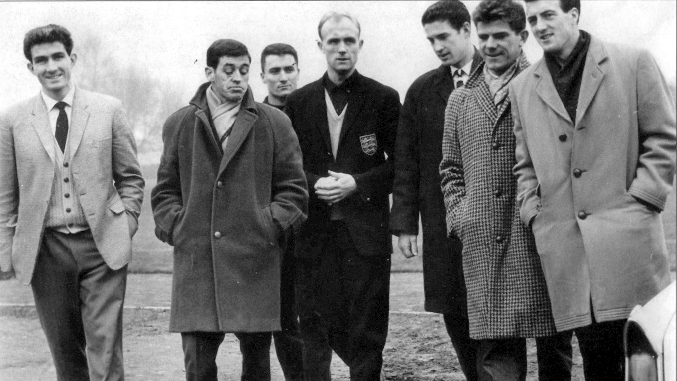Don Howe (centre, dark England blazer) of West Brom had an eventful day; missing a penalty and scoring the equaliser in a 4-4 draw with Tottenham