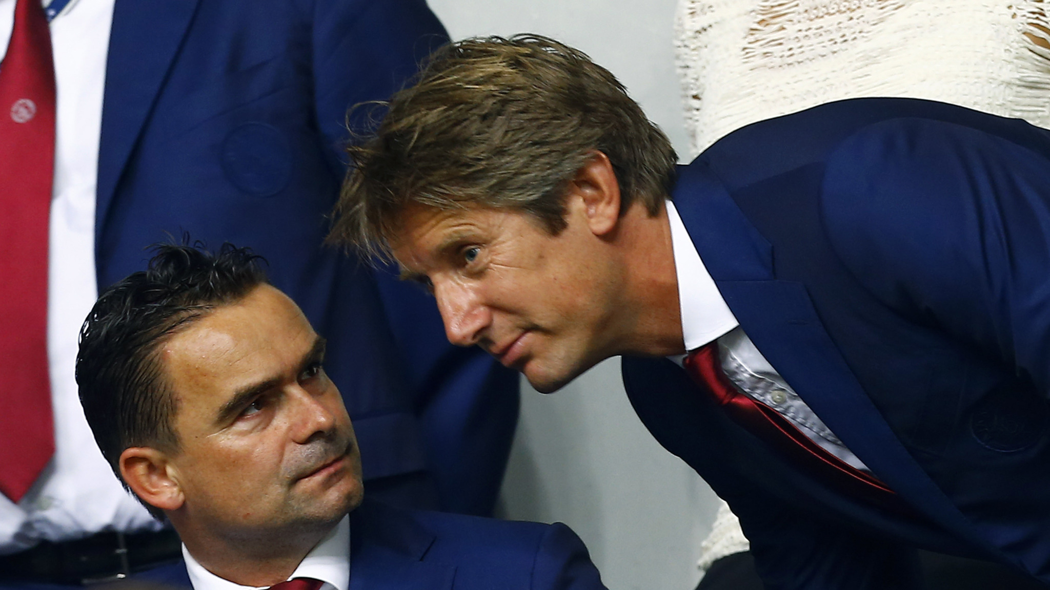 Ajax legends Marc Overmars (left) and Edwin Van Der Sar: kingmakers at the Johan Cruyff Arena