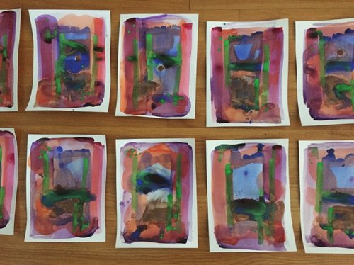 Paintings from  Variations on the Stillness of Motion  in process