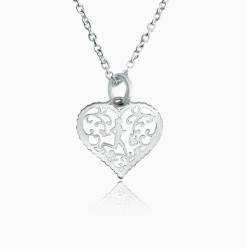 Sterling Silver Filigree Runner Heart Necklace