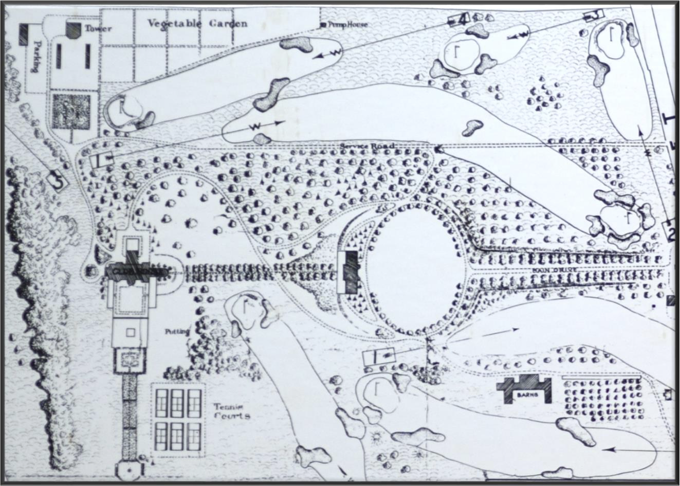 An original drawing of the club grounds. The farm sits on land originally planned as a vegetable garden.