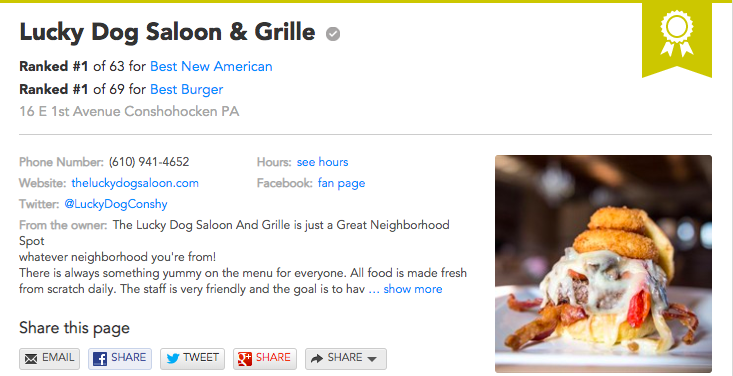Philly A List #1 best new american & #1 best burger -