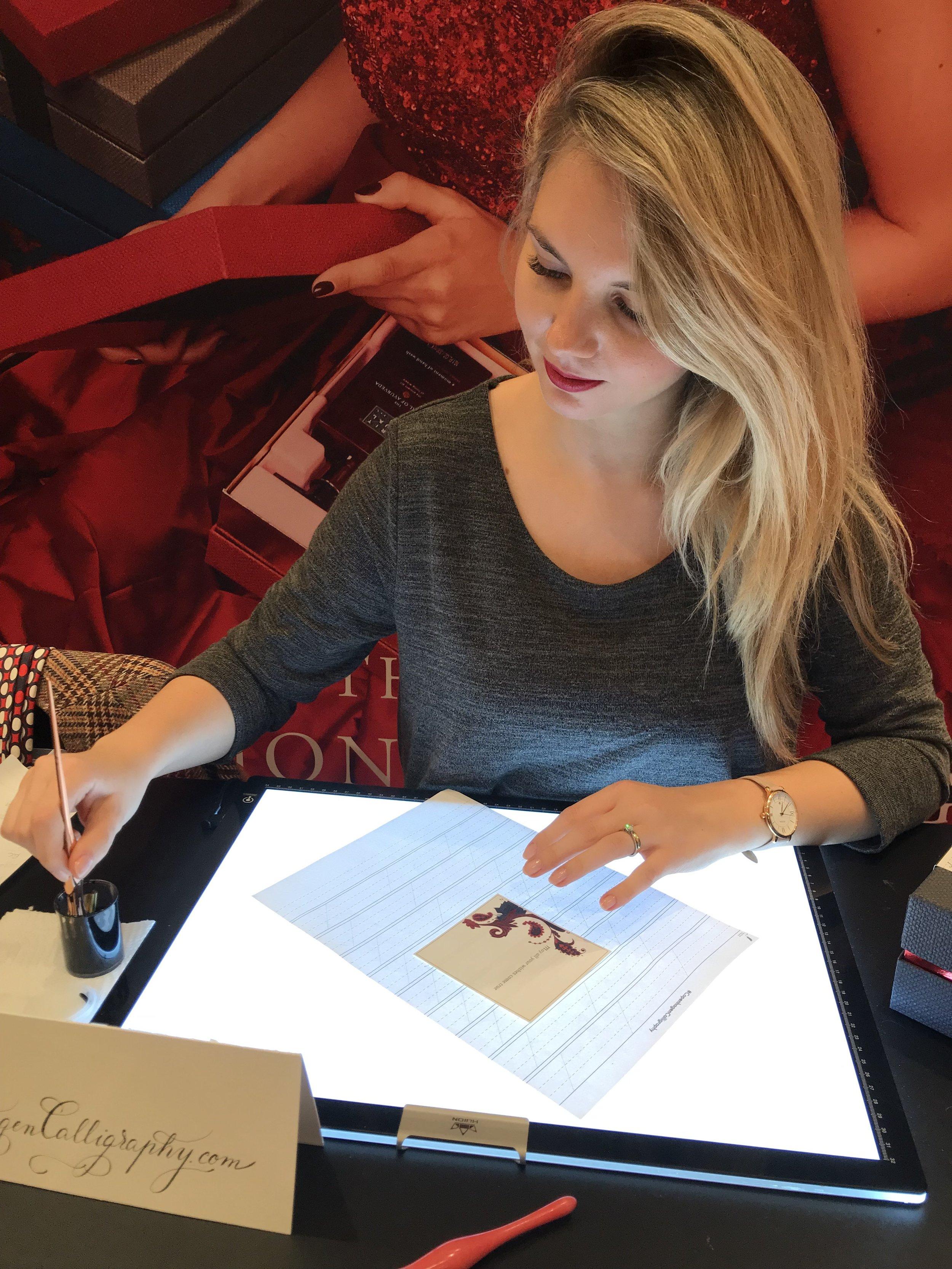 Pop up special event calligrapher on spot handwriting Copenhagen